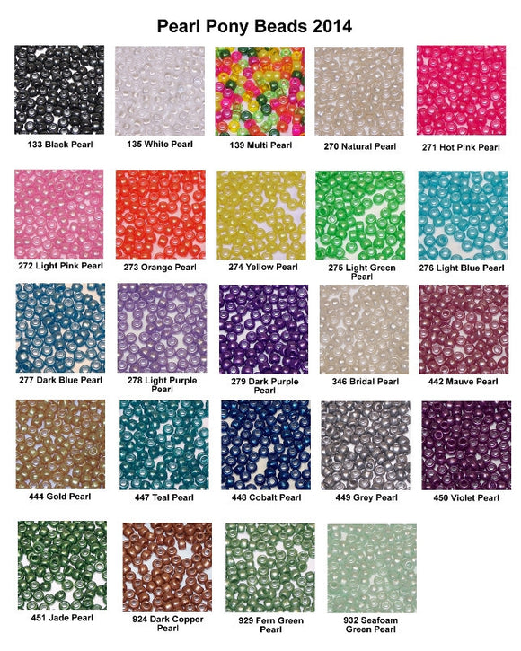 Pony Beads 6 x 9mm Pearl Colors Pkg 1000 - Creative Wholesale