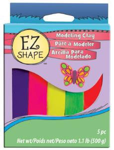 EZ Shape Non Dry Modeling Clay, Bright Color Set, 5 pc - Creative Wholesale