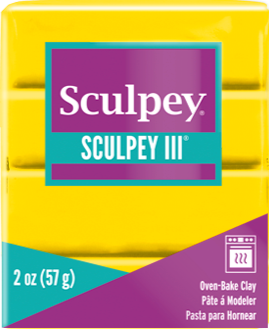 Sculpey III Polymer Clay, Yellow, 2 ounce bar,  S302 072 - Creative Wholesale