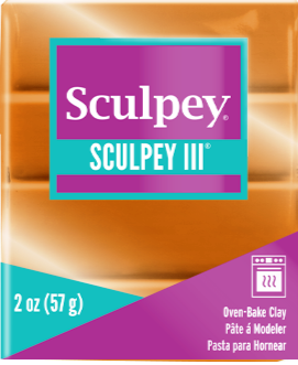 Sculpey III Polymer Clay, Gold, 2 ounce bar.  S302 1086 - Creative Wholesale