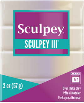 Sculpey III Polymer Clay, Pearl, 2 ounce bar.  S302 1101 - Creative Wholesale