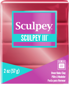 Sculpey III Polymer Clay, Deep Red Pearl, 2 ounce bar.  S302 1140 - Creative Wholesale