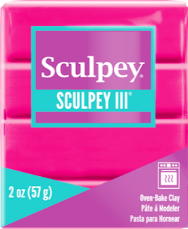 Sculpey III Polymer Clay, Hot Pink, 2 ounce bar.  S302 503 - Creative Wholesale
