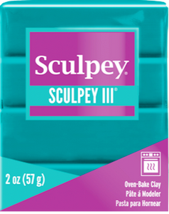 Sculpey III Polymer Clay, Turquoise, 2 ounce bar.  S302 505 - Creative Wholesale
