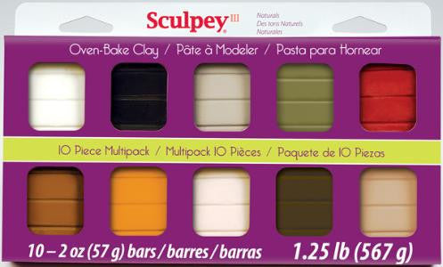 Sculpey III Mulltipacks, Naturals 10 x 2 ounce, S3 MP 0300-1