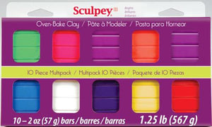 Sculpey III Mulltipacks, Bright Ideas  10 x 2 ounce, S3 MP 0500-1