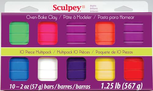 Sculpey III Mulltipacks, Bright Ideas  10 x 2 ounce, S3 MP 0500-1 - Creative Wholesale