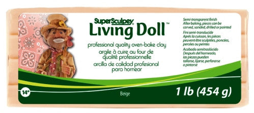 Super Sculpey Living Doll Clay, 1 lb Beige ZSLD-1