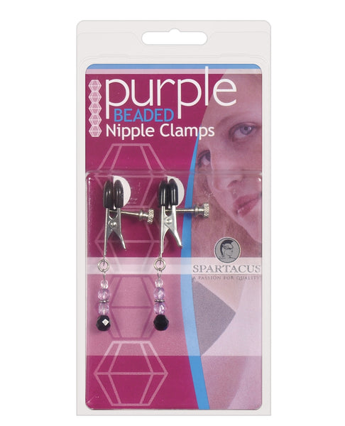 Adjustable Broad Tip Nipple Clamps w/Purple Beads, Bondage Blindfolds & Restraints,- www.gspotzone.com