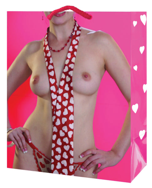 Topless Gal w/Heart Necktie & Thong Gift Bag