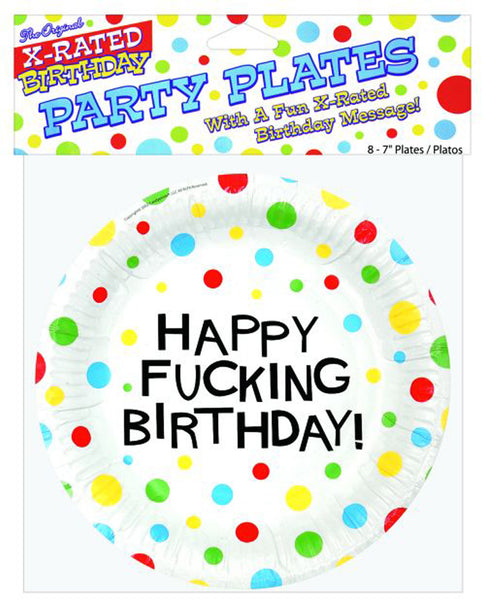 "7"" Happy Fucking Birthday Plates - Bag of 8, Bachelorette & Party Supplies,- www.gspotzone.com"