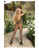 Fishnet Open Crotch Halterd Top Bodystockng Black O/S