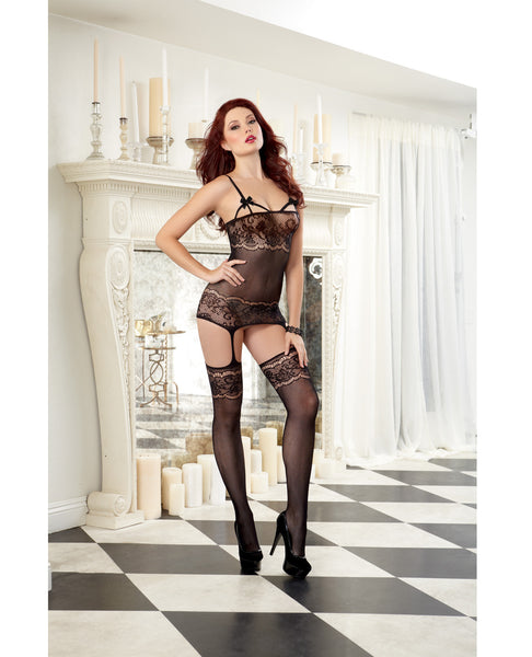 Sheer Garter Dress w/Lace Design & Elastic Cup Strapping, Attched Garters & Thigh Highs Black O/S
