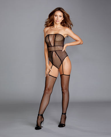 Strapless Teddy Bodystocking w/Attached Garters Black O/S