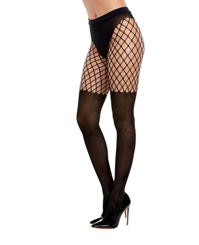 Pantyhose w/Solid Knitted Panty & Thigh High Look Black O/S