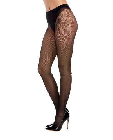 Fishnet Pantyhose w/Solid Knitted Panty Design w/Calf Back Seam  Black O/S