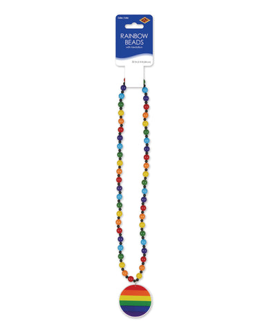 Pride Beads w/Medallion - Rainbow