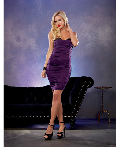 Stretch Jersey Ruched Dress w/Built in Underwire Lace Bra - Plum