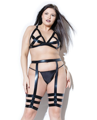 Coquette Darque Wet Look Bra Top & Leg Harness Black OS/XL