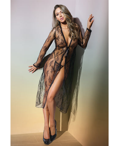 Classic Sheer Lace Robe & G-String Black O/S