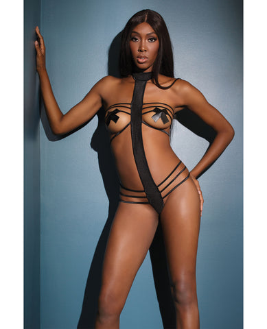 Bold Stretch Knit Strappy Cupless, Halter Teddy (Pasties Not Included) Black O/S