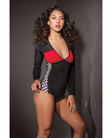 Fashion Stretch Knit Race Car Romper Black/Red O/S