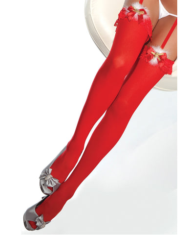 Holiday Sheer Thigh High Stockings w/Faux Detail & Jingle Bells Red OS