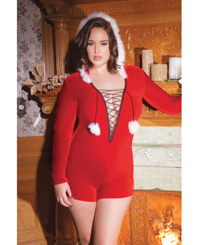 Holiday Stretch Velvet Hooded Romper w/Faux Trim, & Pom Poms Red QN