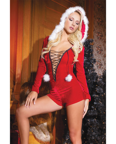 Holiday Stretch Velvet Hooded Romper w/Faux Trim, & Pom Poms Red OS