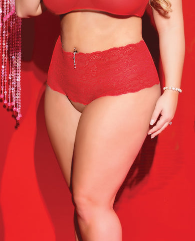 Valentine Stretch Lace Crotchless Panty w/Back Heart Cut Out Red/Black QN