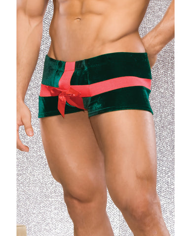 Holiday Low-rise Stretch Velvet Present Boxer Brief w/Bow Detail Green/Red SM