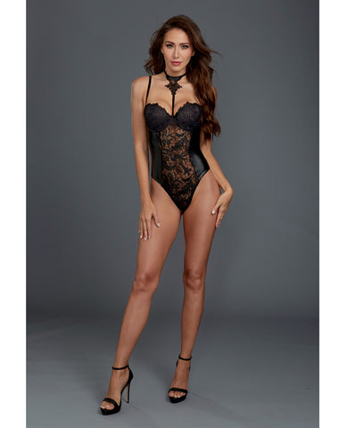 Venice Lace & Stretch Faux Leather Teddy w/Snap Crotch - Black