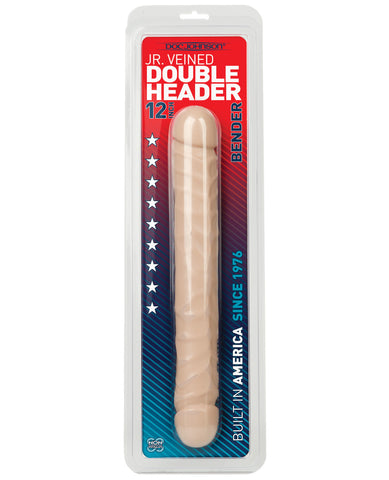 "12"" Jr. Double Header Bender - White, Dongs & Dildos,- www.gspotzone.com"