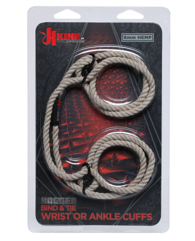 Kink Hogtie Bind & Tie Wrist or Ankle  Cuffs - Natural 6 mm Hemp