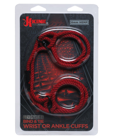 Kink Hogtie Bind & Tie Wrist or Ankle Cuffs - Red 6 mm Hemp