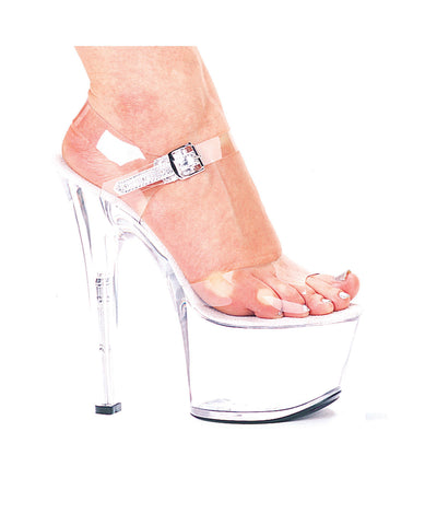 "Ellie shoes, flirt 7"" pump 3"" platform clear"