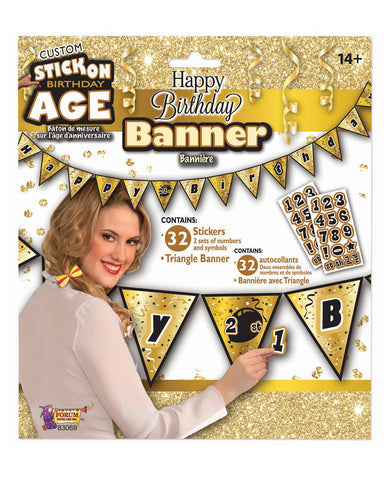 Create Your Own Happy Birthday Banner - Gold/Black