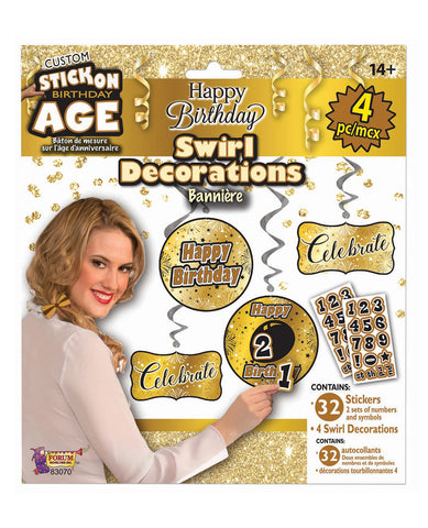 Custom Happy Birthday Decorations Kit - Gold/Black