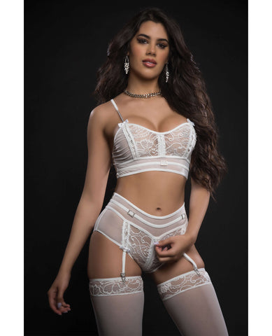 Lacey Bustier Top, Garter Boyshort w/Stockings White O/S