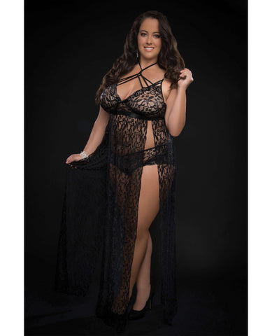 Lace Night Gown w/Lace Pany Blackout QN