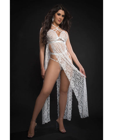 Lace Night Gown w/High Waist Strappy Panty White O/S