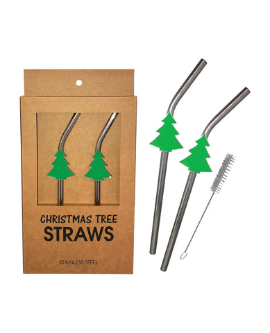 Holiday Tree Reusable Stainless Steel (Dishwasher Safe) Straws - Pack of 2