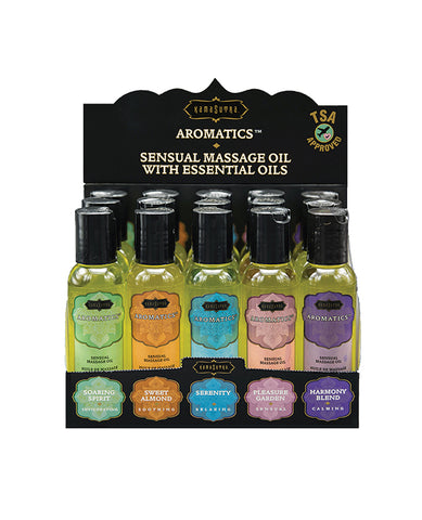 Kama Sutra Aromatics Massage Oil Display - 2 oz Asst. Scents Display of 15