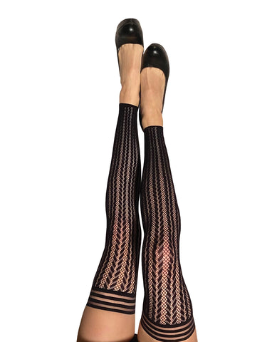Kix'ies Lindsay Footless Fishnet Stripe Thigh Highs Black C