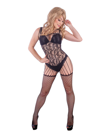 Kix'ies All in One Garter Body Stocking Black OS