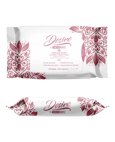 Swiss Navy Desire Unscented Feminine Wipes - Pack of 25