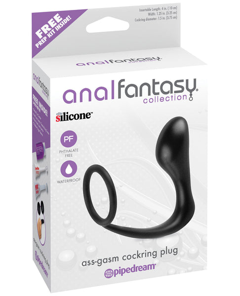 Anal Fantasy Collection Ass Gasm Cockring Plug - Black, Anal Products,- www.gspotzone.com