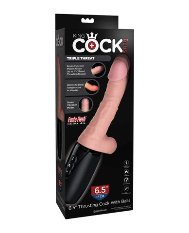 "King Cock Plus Thrusting, Warming & Vibrating  6.5"" Triple Threat Dong"