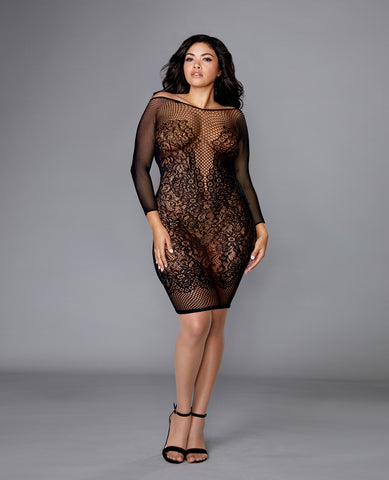 Seamless Fishnet & Lace Versatile Chemise Black QN