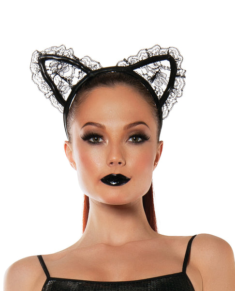 Roleplay Lace Cat Ears Black O/S